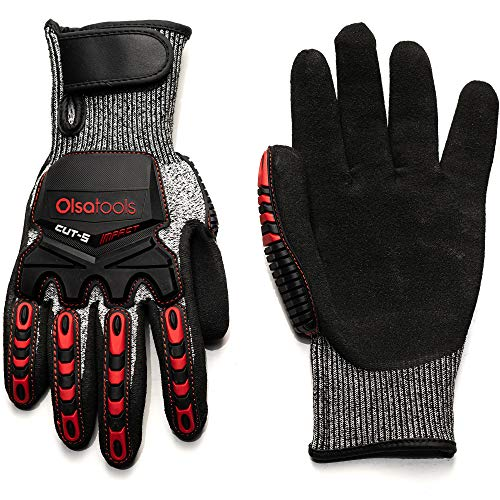 Olsa Tools Mechanic Gloves, Highly Cut Resistant, Cut Level 3 (Small) | Mechanics Gloves | Sandy Nitrile | Cut Resistant Work Gloves | Tear and Abrasion-Resistant | Impact Resistant Gloves
