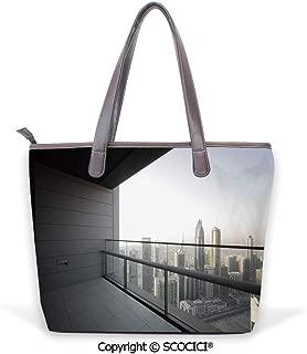 SCOCICI Satchel for Women Arabian City Dubai Landscape Downtown from Balcony Ph