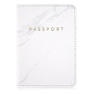 Leminimo Leather Marble Passport Cover Passport Holder With RFID Blocking - Marble Print Passport Case Travel Wallet