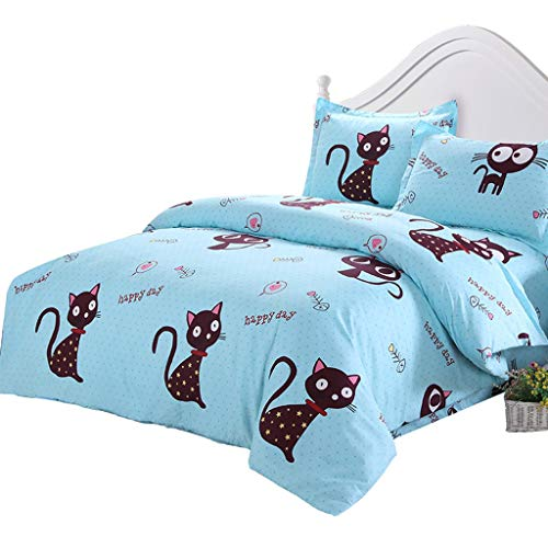WWWEE Cotton 4-Piece Set Cotton Quilt Cover Bed Sheet Double Children's Upper and Lower Bunk Single Cartoon (Size : 2.0 beds (Cover 2.0 x2.3m))