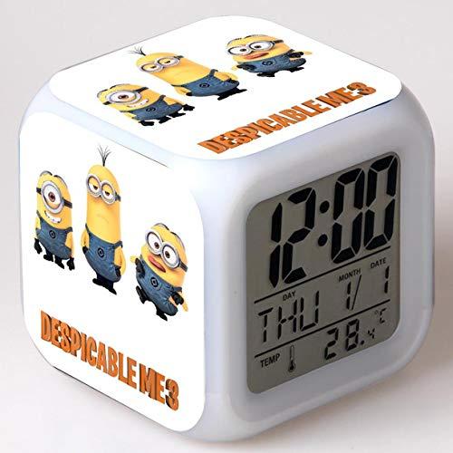 yuandp Minions Cartoon Wecker Kinderspielzeug Led Wecker Digitaler Wecker Elektronischer Weckleuchttisch Entsperren Wecker