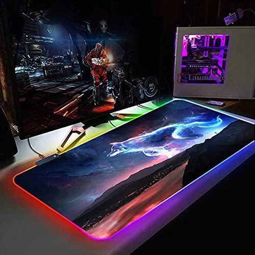 Alfombrillas de ratón RGB LED Alfombrilla de ratón Estrellada Grande y Colorida,Protector de Mesa de Escritorio para computadora portátil,tapete de Escritura para Trabajo de Oficina/hogar/decoración