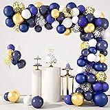 129 Piezas Kit de Arco de Látex Globos Azules Dorados Azul Marino Blancos Globos Dorados de Confeti de Fiesta para Bodas Ducha Nupcial Fiesta de Cumpleaños Fiesta Baby Shower Graduación Decoración
