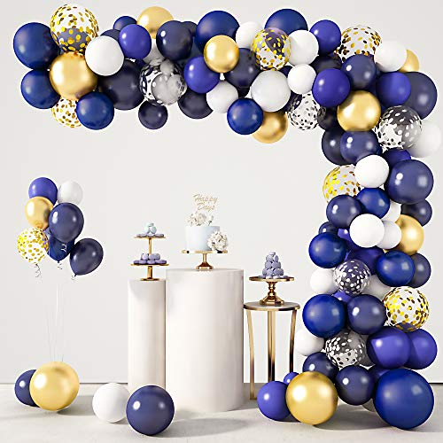 129Pcs Navy Blue Balloons Garland Arch Kit, Navy Royal Blue Gold Pearlescent Latex Balloons Silver Confetti Metallic Balloons for Birthday Baby Shower Wedding Party Decorations Supplies &4Pcs Tools