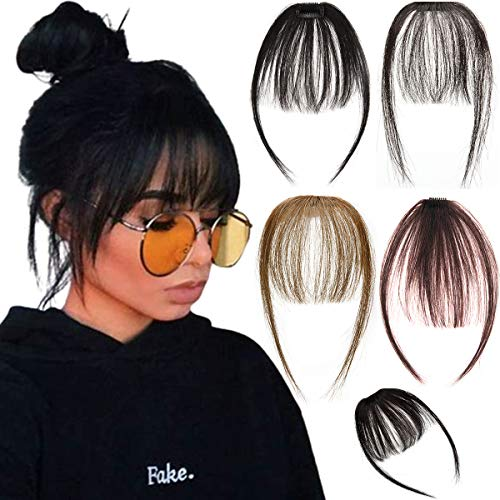 SLLIE Human Hair Air Bangs Clip in Bangs Hair Extensions with Temples One Piece Clip on Front Bangs Hairpiece 100% Human Real Hair Fringe