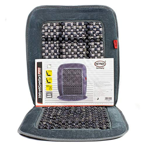 HEYNER Germany SoftVelvet Car Seat Cover Wooden Cushion Grey beaded beads Massage Ventilation Comfort Taxi Van Motorhome