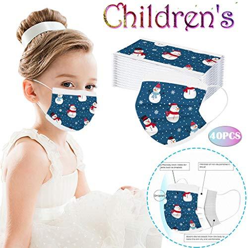 AIYIFU Children Disposable Christmas Mask - 3 Layers Dustproof Face Cover Cartoon Santa Claus Snowman Decorative Masks 40pcs