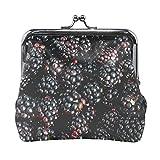 Cartera pequeña para Mujer Blackberry Berry Fruit Picking Fresh, Dulce y madura Monedero Estuche con Cierre Kiss Lock Cartera pequeña para Mujer para Mujer niña 4.5x4.1 Pulgadas