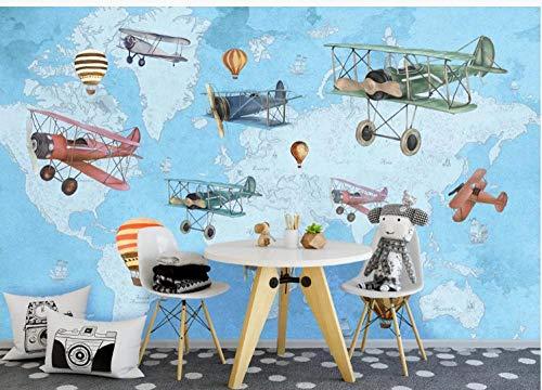 Fototapete 3D Effekt Wand Dekoration Vlies Tapete Moderne Dekoration Wanddeko Wandbilder 400X280Cm Moderne Cartoon Flugzeug Weltkarte Kinderzimmer Hintergrundwand