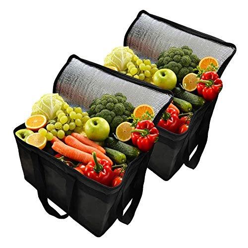 Weichuang - Cesta de picnic con 2 bolsas de aislamiento plegable, portátil, bolsa térmica para alimentos, bolsa de entrega de alimentos, bolsa aislada, bolsa de picnic (color: negro, tamaño: XL)