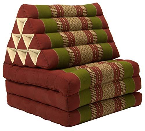Fine Asianliving Thaikissen Dreieckskissen 3 Auflagen Kapokfüllung Burgunder Grün Thai Kissen Meditation Matte Matratze Kapok 301-A09