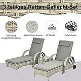 Sonnenliege Gartenliege Tisch 3er-Set Gartenmöbel Polyrattan Metall Grau - 3