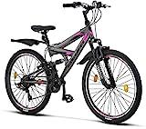 Licorne Strong Bike - Bicicleta de montaña prémium de 26 pulgadas, para niños, niñas, mujeres y hombres, cambio Shimano de 21 velocidades, suspensión completa, Gris antracita/rosa., 66,04 cm