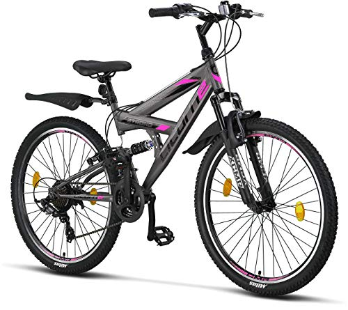 Licorne Bike Strong V Premium Mountainbike in 26 Zoll - Fahrrad für Jungen, Mädchen, Damen und Herren - Shimano 21 Gang-Schaltung - Vollfederung