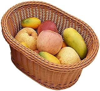 KTYX Paniers Rangement,Rotin Tissé Ovale À La Main Durable Lavable Snack Panier De Fruits Cuisine Salon,Marron,32x23x13cm