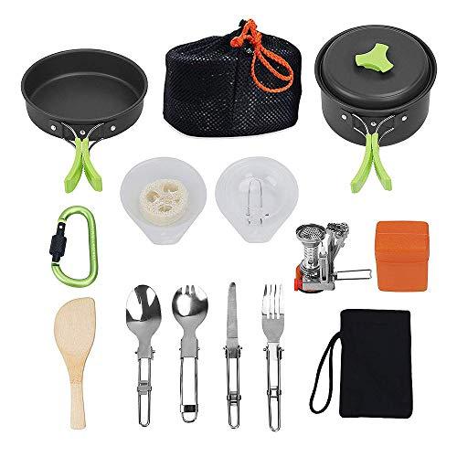 GoodFaith - Juego de ollas portátiles para picnic, cuchillo, cuchara, sacacorchos, sartenes, batería de cocina, juego de cocina para camping con vajilla antiadherente 13 piezas para 1 – 2 personas, verde