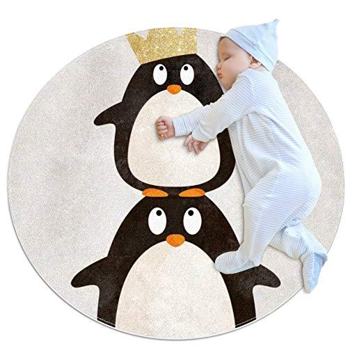 Niedlicher Pinguin Runder Teppich weich für Kinderzimmer Babyzimmer Heimtextilien Matte für Schlafzimmer Spielzimmer Badezimmer Wohnzimmer Sofakissen Haustier Matte 100x100cm