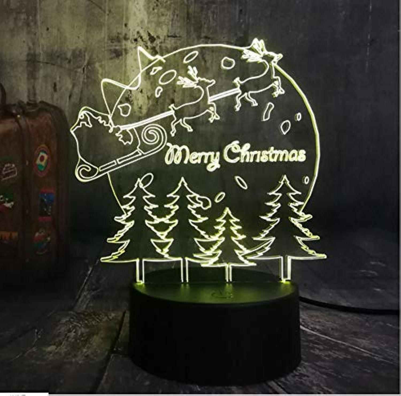 BMY Ne3D Led Lighting Sledding Dear Christmas Tree Night Lights USB Warm Desk Lamp Home Happy New Year for Kids