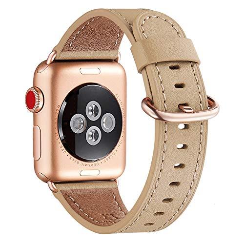 WFEAGL Compatibile con Cinturino Watch 42mm 44mm 38mm 40mm, Multicolore Pelle Cambiamento Cinturini Compatibile con Watch Serie 6 Serie 5 4 3 2 1,SE(42mm 44mm,Luce Marrone+Oro Rosa Adattatore)