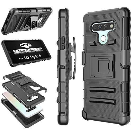 LG Stylo 6 Case, 2020 LG Stylo 6 Holster Clip, Tekcoo [Hoplite] Shock Absorbing [Black] Secure Swivel Locking Belt Defender Full Body Kickstand Carrying Armor Tank Sturdy Phone Cases Cover