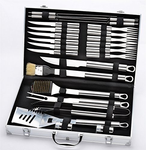 VolksRose Premium 24 Pieces Stainless Steel BBQ Set with Aluminum Storage Case - Heavy Duty Professional Outdoor Barbecue Grill Tool Accessories Kit for...