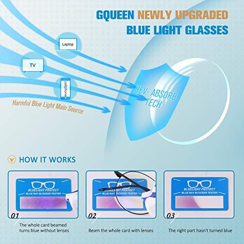 GQUEEN Occhiali da Computer Rotondi Anti-Affaticamento con Lenti Trasparenti GQ129