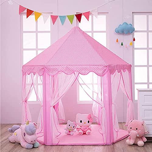 Hakoo Castillo Carpa Casa Princesas Portatil - Castillo Plegable de Princesas Cute Kids Play Tienda de Campaña Playhouse Juguete para Niñas Casa Jardin Interior y Exterior, 140x140x135cm - Rosa