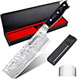 "MOSFiATA 7"" Nakiri Chef's Knife with Finger Guard and Blade Guard in Gift Box, German High Carbon Stainless Steel EN1.4116 Nakiri Vegetable Knife, Multipurpose Kitchen Knife with Ergonomic Handle"