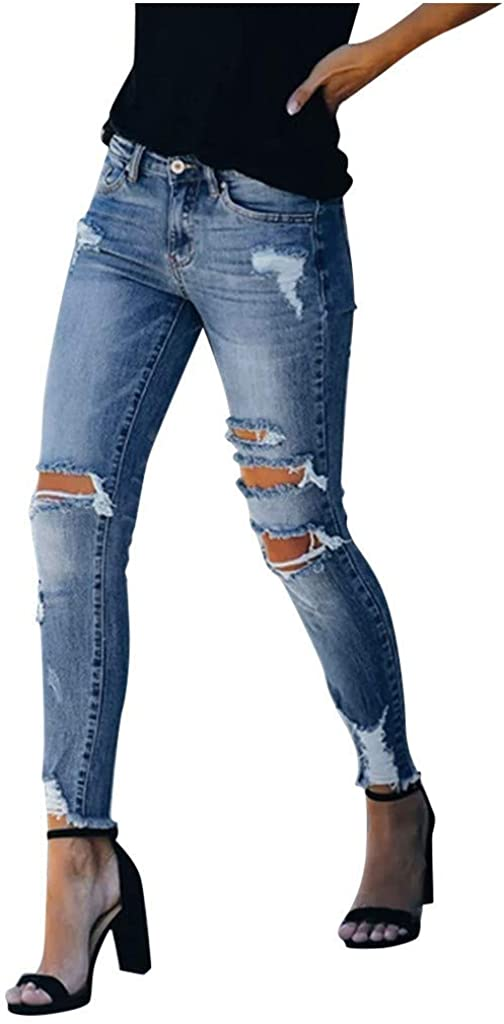 Ripped Jeans for Women, Ladies Classic Casual High Rise Elastic Skinny Slim Fit Button Pocket Denim Pants