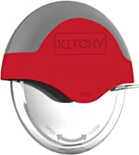 Kitchy Pizza Cutter Wheel with Protective Blade Guard, Super Sharp and Easy To Clean Slicer, Stainless Steel (Red)