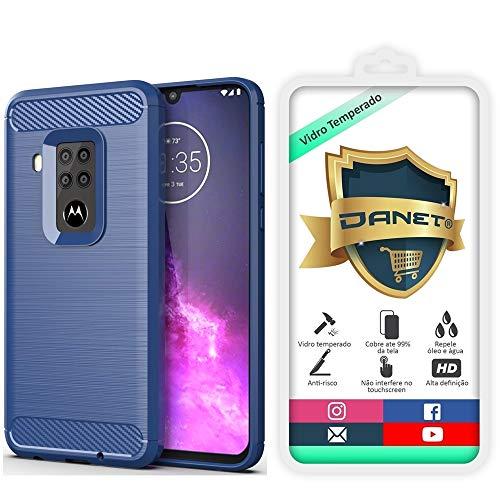 """Kit Capa Capinha Anti Impacto Para Motorola Moto One Zoom Tela 6.4"""" Case Com Desenho Fibra De Carbono E Película De Vidro Temperado - Danet (Azul Escuro)"""