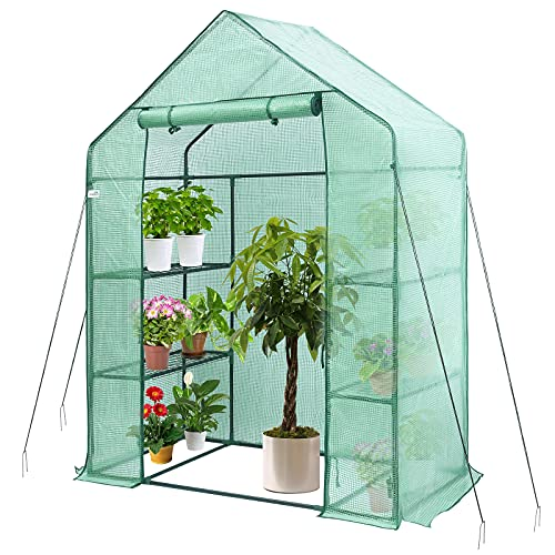 Greenhouse, Hanience Walk-in Greenhouse with Anchors and Ropes, 3 Tier 4 Wired Shelves Indoor and...