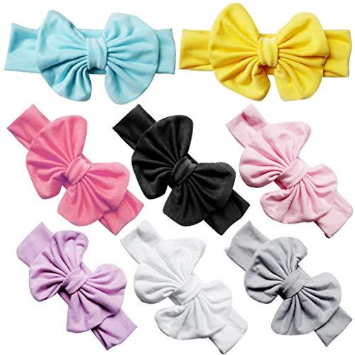 8Pcs Bandeaux Bébé Fille Naissance Fleurs en Ceremonie Bande de Cheveux d'accessoires en Nylon Doux Accessoires de Cheveux des Enfants de Bébé 8 Ensembles de Cadeaux de Bijoux Anniversaire Cadeau
