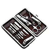 Tseoa Manicure, Pedicure Kit, Nail Clippers, Professional Grooming Kit, Nail Tools with Luxurious Travel Case, 12 pieces