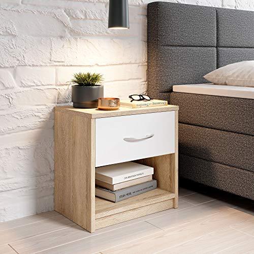 Stella Trading Pepe Mesita de Noche Sencilla con un cajón Adecuada para Cada Cama y Dormitorio, Roble Sonoma/Blanco, 39 x 41 x 28 cm