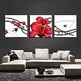 SJYHNB Cuadro Lienzo Impresión Golondrina y flor roja Image Foto Lienzo Impresión Artística Gráfica Decoracion De Pared 50 x 50 cm x 3 Paneles (con Marco)