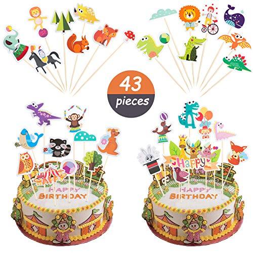 Comius 43 Pcs Lindo Animales Decoración para Tartas, Animales Cupcake Toppers para Niños Baby Shower Fiesta de Cumpleaños Cake Decoration Supplies