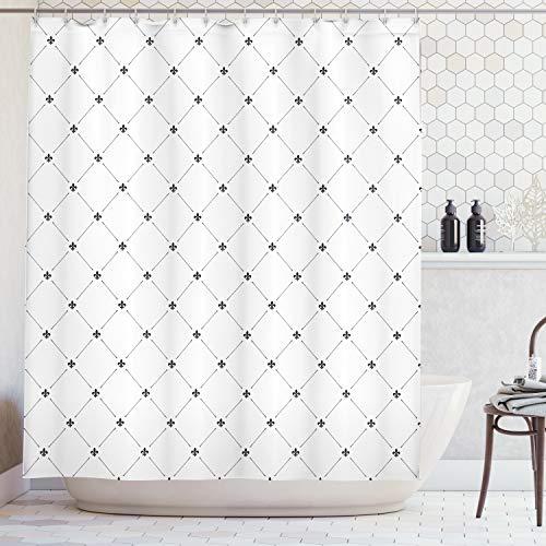 ABAKUHAUS Duschvorhang, Simple Viereckige Motive Quadratisch mit Minimalistischen Damast Digital Schwarz-Weiß Druck, Blickdicht aus Stoff mit 12 Ringen Waschbar Langhaltig Hochwertig, 175 X 200 cm