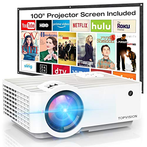 "Video Projector, TOPVISION 6500L Portable Mini Projector with 100"" Projector Screen, 1080P Supported, Built in HI-FI Speakers, Compatible with Fire Stick, HDMI, VGA, USB, TF, AV, PS4"