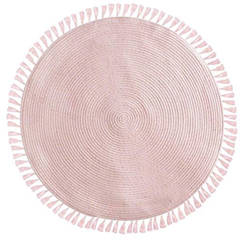 AC-Déco Atmosphera - Tappeto con frange, diametro: 90 cm, colore: Rosa, Cotone, Rosa, 80 x 150 cm