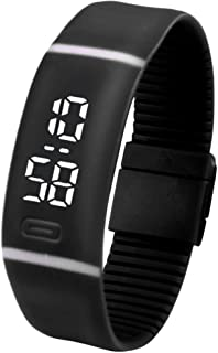 LED Watch, Unisex Rubber Bracelet Water Resistant Touch Screen White LED Digital Display Sports Wrist Watch