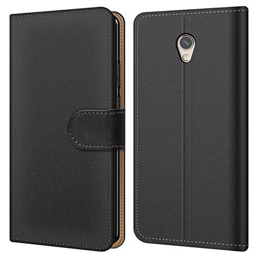 Conie BW50067 Basic Wallet Kompatibel mit ZTE Blade V7, Booklet PU Leder Hülle Tasche mit Kartenfächer & Aufstellfunktion für Blade V7 Case Schwarz