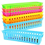 WFPLUS 6 Pack Plastic Pen and Pencil Basket Trays Colorful Pencil Organizer Crayon Basket Holder Toy Storage Basket for School Classroom Office Home Kitchen, 6 Colors, 10 x 3 x 2.5 Inches