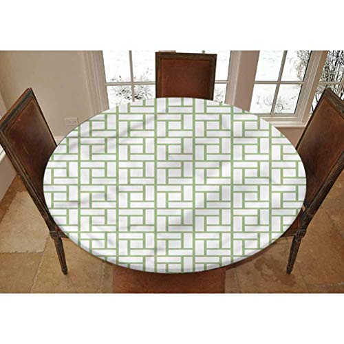 Green Elastic Edged Polyester Fitted Tablecolth -Maze Shaped Squares Lines- XSmall Round Fitted Table Cover - Fits Tables up to 39' Diameter,The Ultimate Protection for Your Table