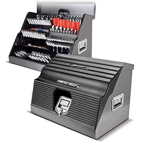 Powerbuilt 26 Inch Portable Slant Front Toolbox Tiered Stairstep Tool Holders Store Up To 154 Tools, 16 Gauge Steel, Chrome Hardware, Weather-Resistant Lockable Polymer Lid with Gas Struts - 240111
