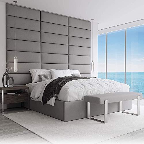 VANT Gepolsterte Kopfteile - Accent Wall Panels - 4er - Packungen - Einfach zu installieren - Kopfteil für Einzel - und Doppelbetten (Wildleder Anthrazit, 76cm BREITE)