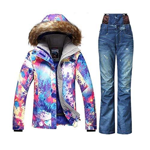 AHJSN Winter Berg Skianzug Günstige Skianzug Weibliche Schneeset Veste ski Snowboard Jacke Frauen Denim ski Hosen XS B 1