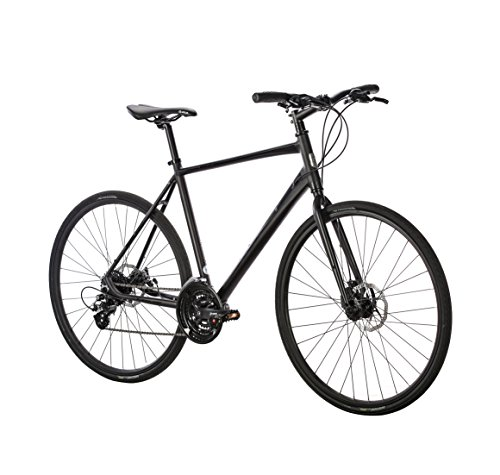 Populo Bikes Fusion 2.0 Hybrid 24-Speed Bicycle with Disc Brakes, Black, 47cm/X-Small