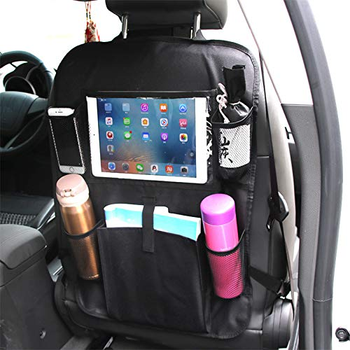 GMK Car Back Seat Organiser, Car Seatback Protector with Large Top-Pocket Ipad Tablet Holder Backseat Kick Mats Cover with 5 Storage Pockets for Family Road Trip