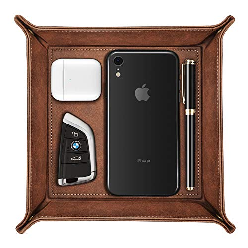 SITHON Valet Tray Desktop Storage Organizer – Premium PU Leather Catchall Tray Bedside Vanity Tray Nightstand Caddy Holder for Remote Controller, Keys, Phone, Wallet, Coin, Jewelry, Brown